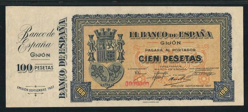100 pts. con matriz  el Banco de España de Gijón Spa_1011