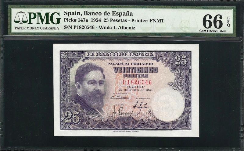 "25 pesetas 1954 ""Isaac Albeniz"" serie P. Spa_2510"
