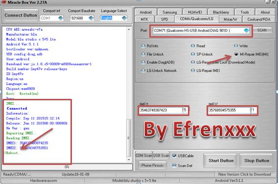 Aporte Reparación de imei Blu Studio C 5+5 LTE QUALCOMM BY MIRACLE Blu_st22