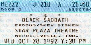 Black Sabbath: Reunion, 1998 (p. 37) 19921011