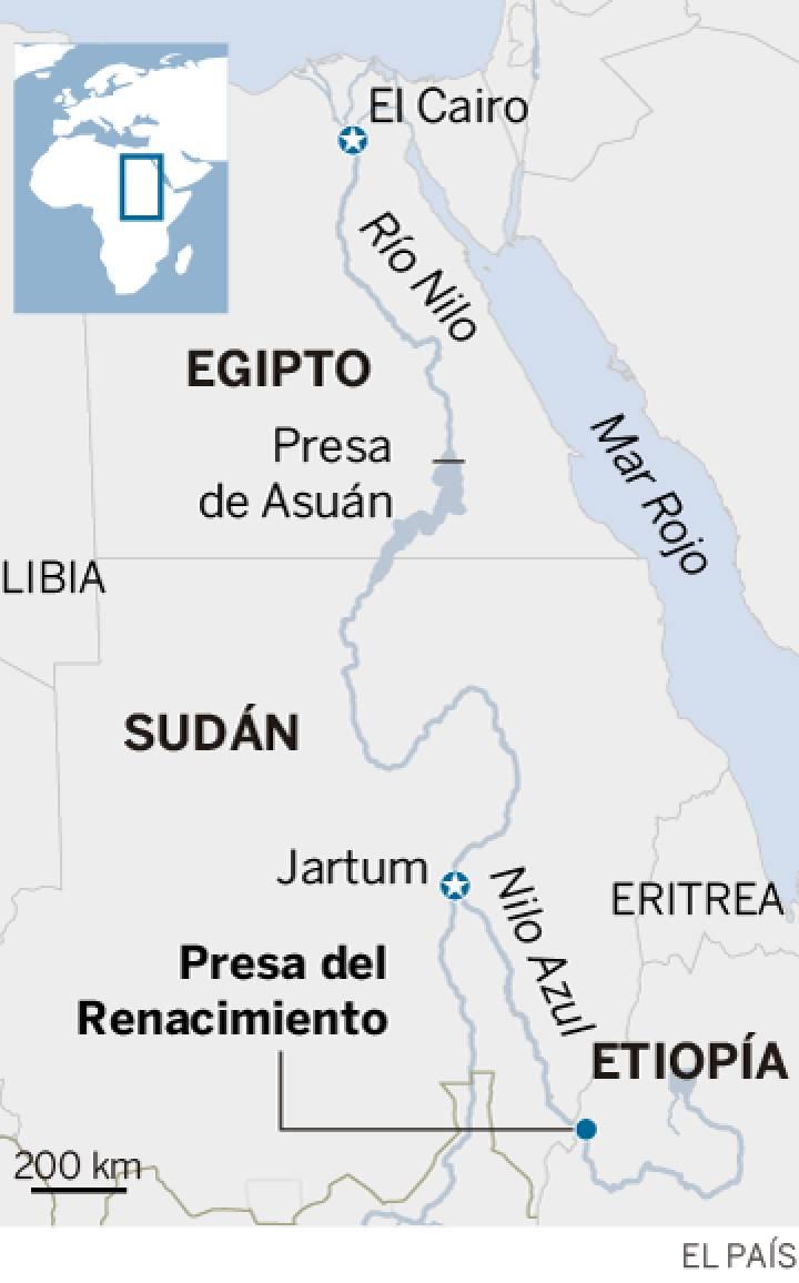África: Agua del Nilo Azul, Etiopía, Egipto, hasta 11 Estados africanos... y China. 15701810