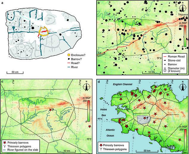 Hallan en la losa de Saint-Bélec encontrada en Bretaña, el mapa en relieve más antiguo en Europa. [Historia] 41449410