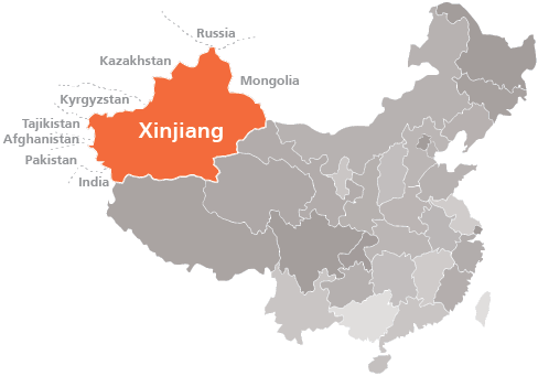 """Xinjiang [Turquestán oriental] en """"La China de Xi Jinping"""" de Xulio Ríos. Map1010"""