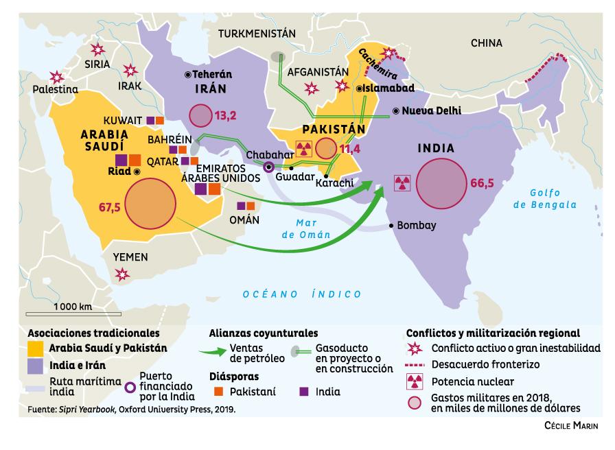 Alianzas insólitas en torno al mar de Omán. Acuerdos fluctuantes entre Pakistán, Arabia Saudí, la India e Irán. Quatre10
