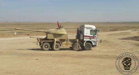 بالصور...دبابة غريبة تشارك في معارك تحرير الموصل 17800210