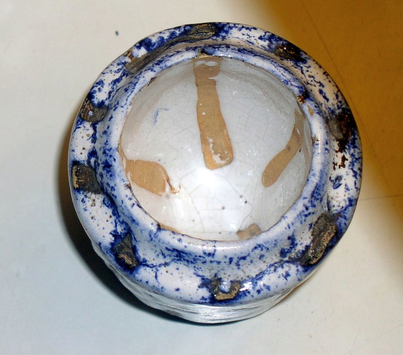Unusual little glazed egg-cup or something indistinct signed or something?? Fff10