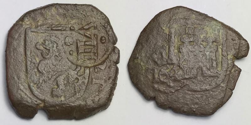 8 maravedis Felipe III ceca de cuenca 1621 con resello VIII de 1641 _camte24