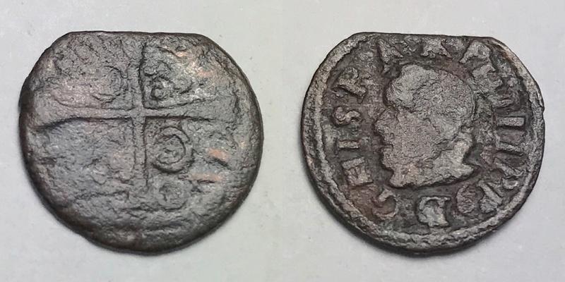 Dinero de Felipe III o IV de Barcelona _camte38