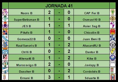 RESULTADOS Y CLASIFICACIÓN J41 Result25