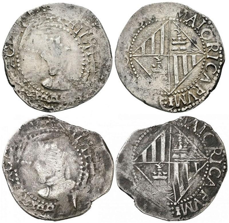 Juego de mismos  CUÑOS para dos  4 Reales DE Mallorca  Felipe  III De ARAGON (IV DE  CASTILLA)  001-8-10