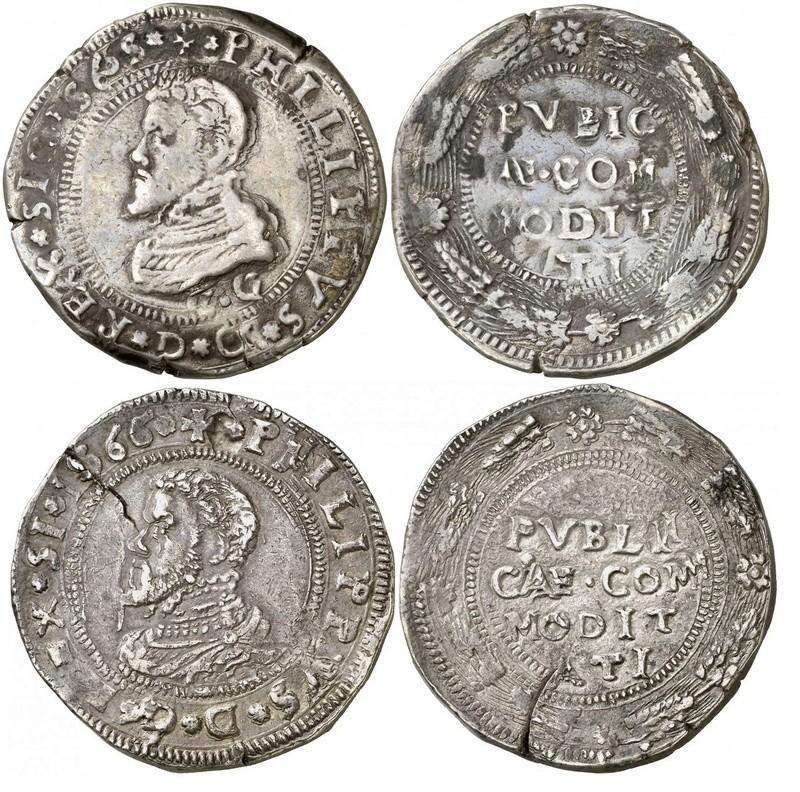 escudo ó 10 taris  messina CG felipe II 1565 sobre 1555 25293310
