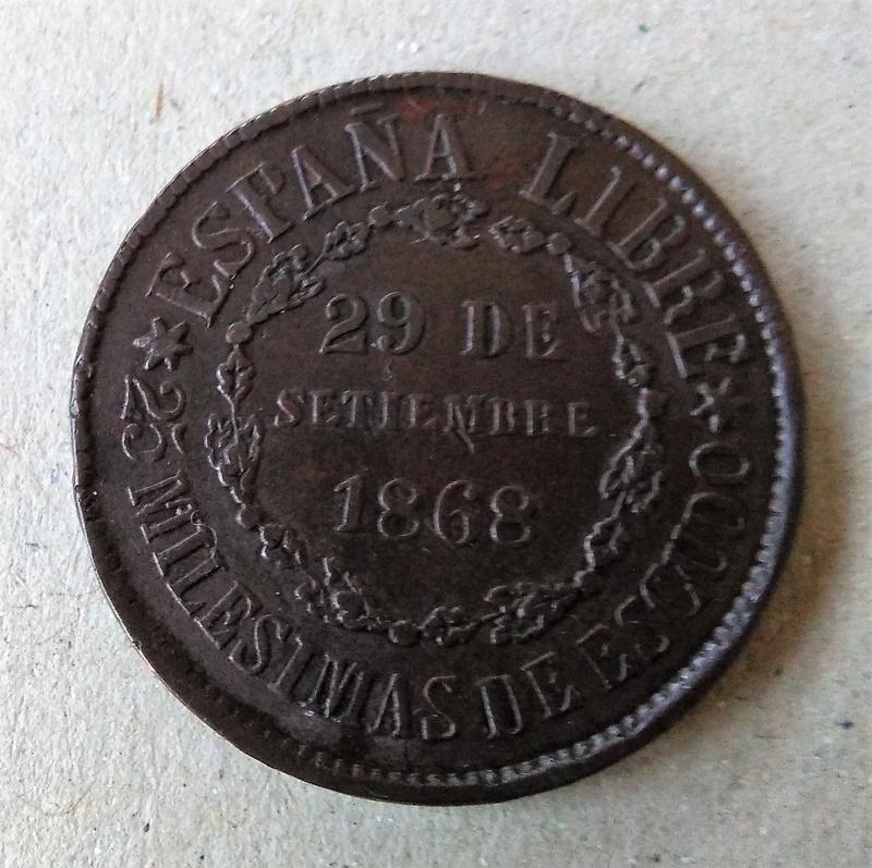 25 milésimas de escudo 1868. Gobierno Provisional. Segovia  Img_2098
