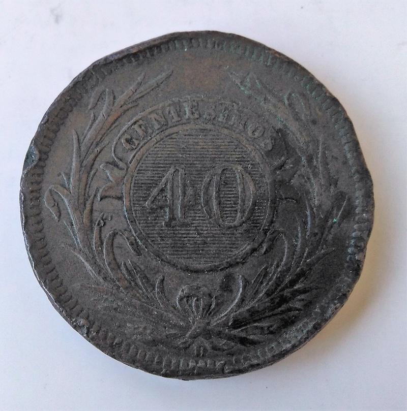 40 centésimos, Uruguay, 1857 - Dedicado a Sol de Cabellera Img_2205