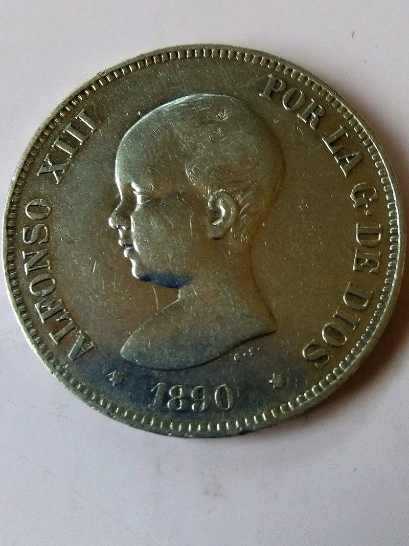 5 pesetas 1890. Alfonso XIII. MPM Img_2225