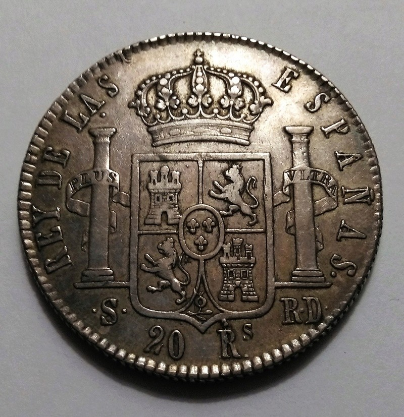 20 reales 1822. Fernando VII. Sevilla Img_2323