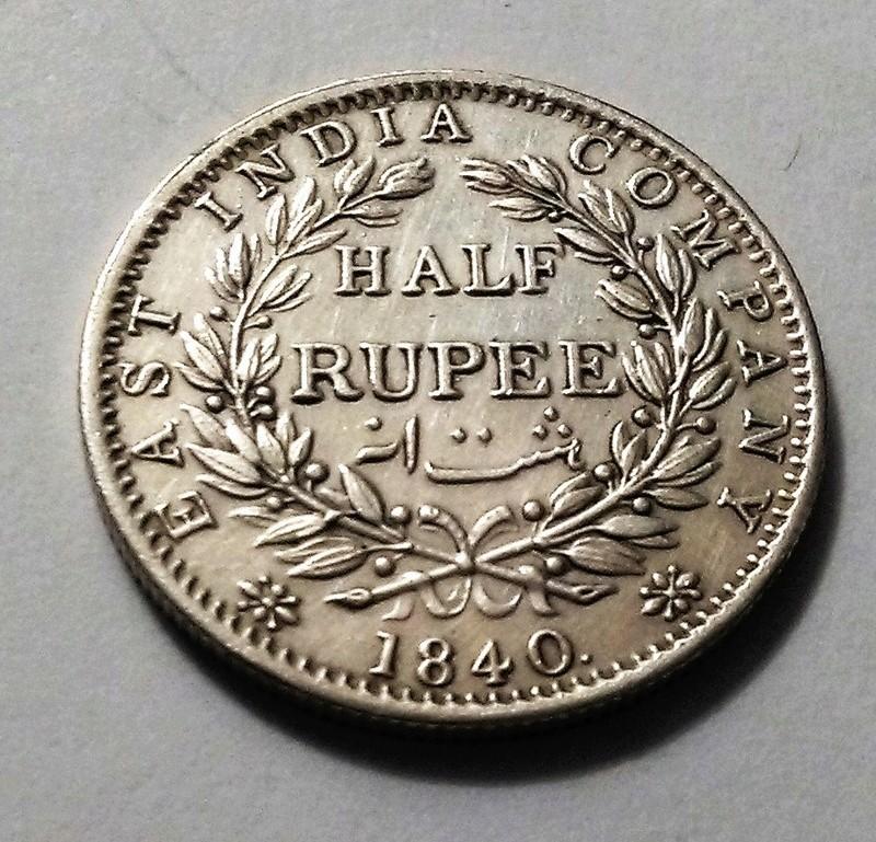 1/2 rupia, India, 1840 - Reina Victoria - Compañía de las Indias Orientales Img_2374
