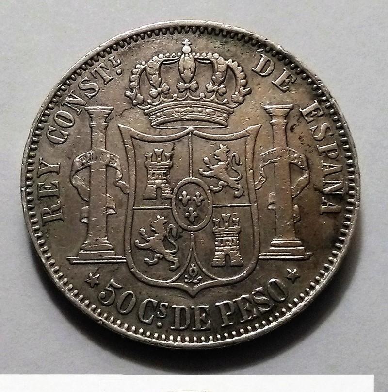 50 centavos de peso. 1880. Alfonso XII. Manila Img_2450