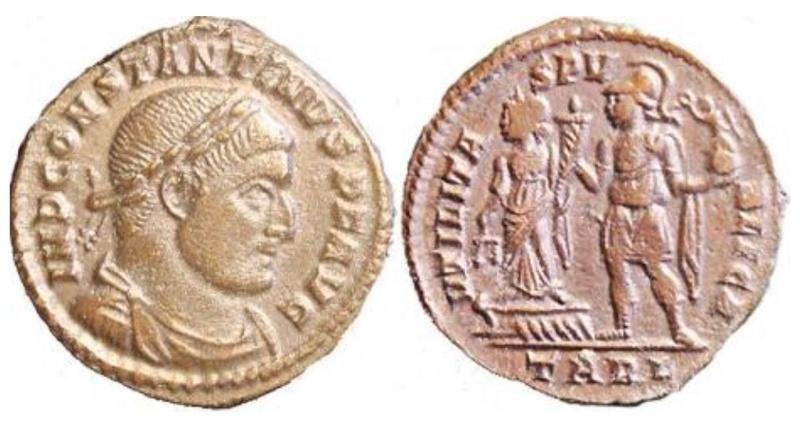 Un follis inédit de Constantin Ier, revers avec Victoire et empereur Fig_910