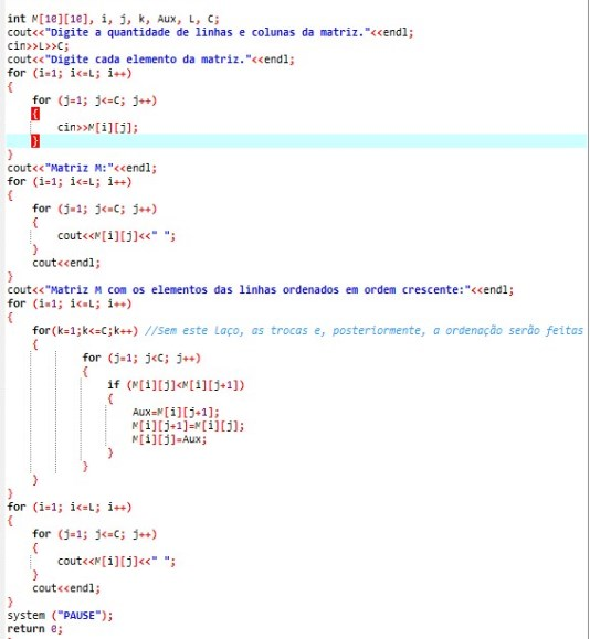 Ordenação de matrizes em C/C#/C++ Screen31