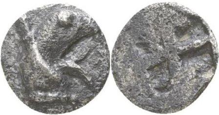 Tetartemorion de plata, Teos, Jonia; 500-447 a.C.  261b12