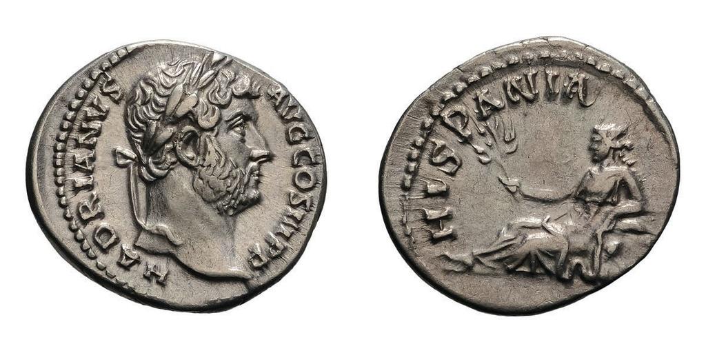 Denario de Adriano. HISPANIA. Hispania recostada a izq. Ceca Roma. 28172710