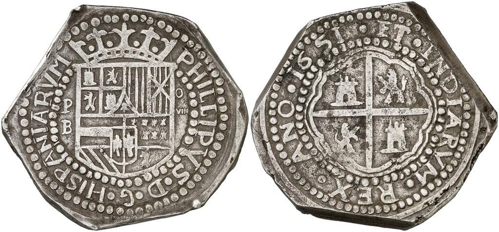 1651. Felipe IV. Potosí. B. 8 reales. 32,06 g. Falsa indígena 29867610