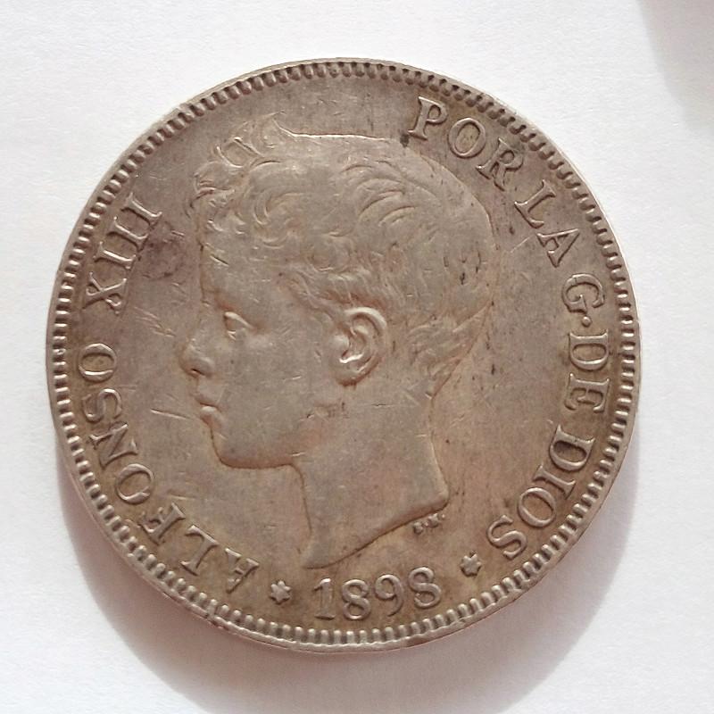 5 pesetas 1898. Alfonso XIII 5pts-114