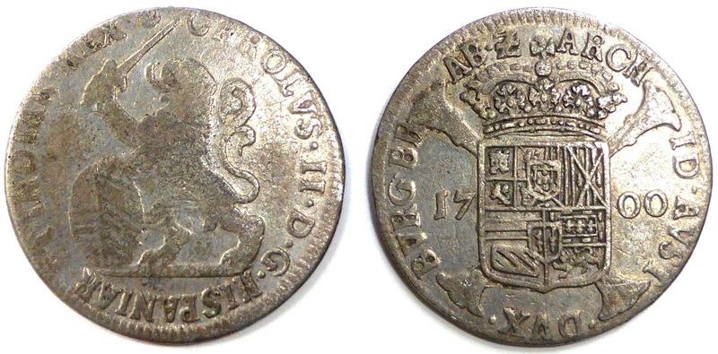 1 Escalin Carlos II,ceca de Amberes-1700. _5710