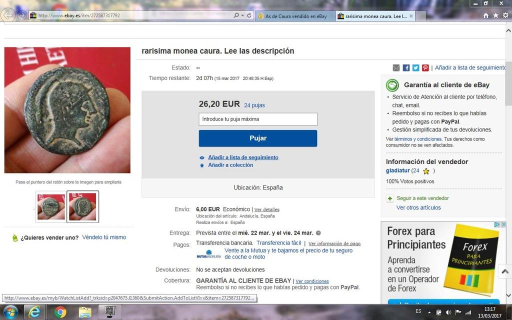 As de Caura vendido en eBay Captur10