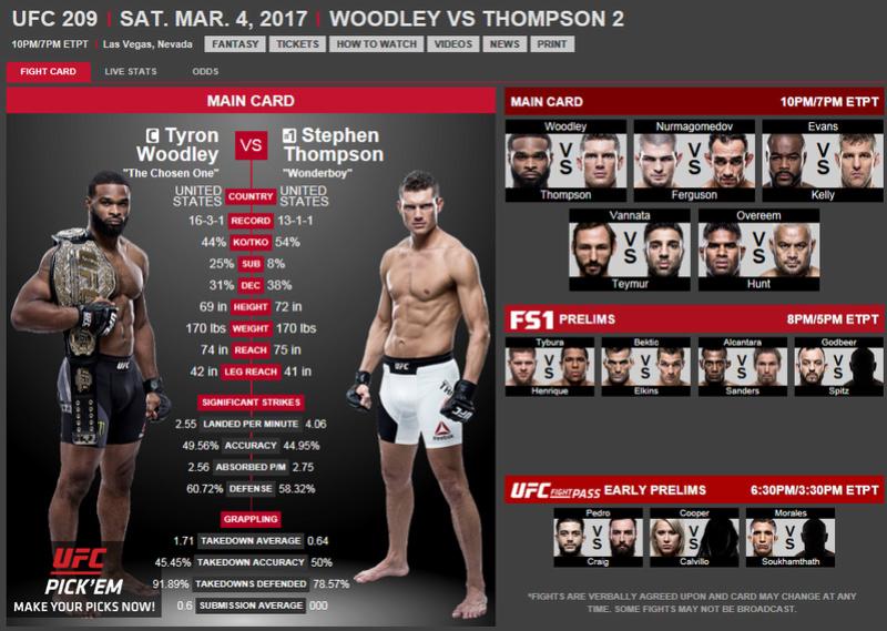 UFC 209 Woodley vs Thompson 2, sábado 4 de marzo Ufc20910