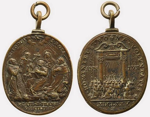 Medalla de Santos canonizados en 1671 / Puerta Santa -1675- Giovanni Hamerani (R.M. SXVII-O436) Col_b_12