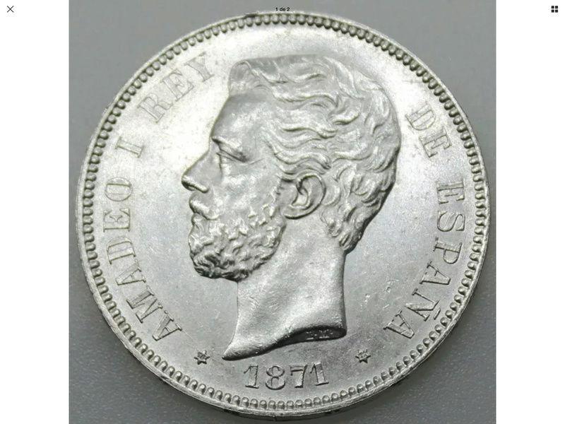 5 Pesetas 1871*71 Amadeo I Img_0424