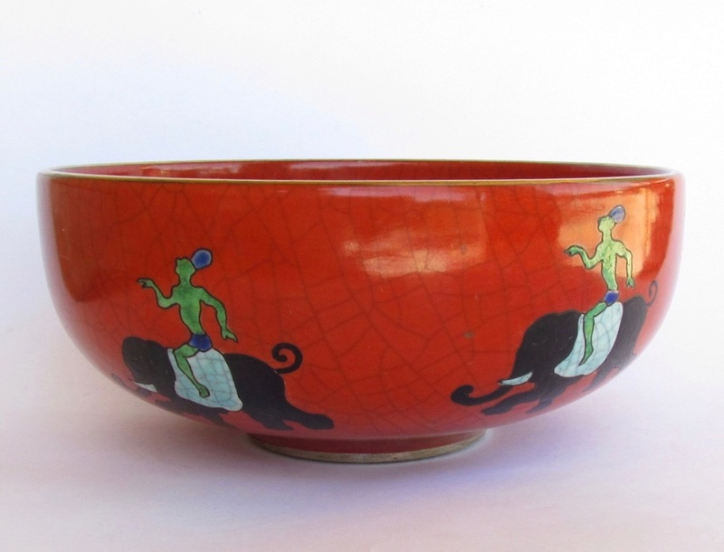 Red/orange crackle glaze bowl with enamel elephants Img_0810
