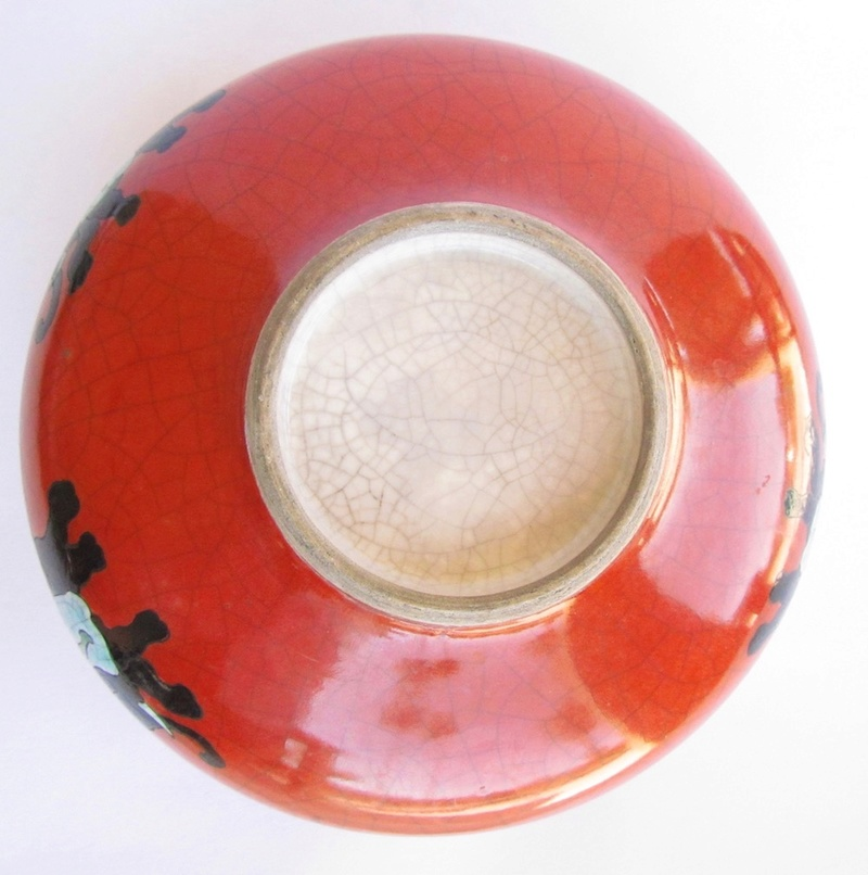 Red/orange crackle glaze bowl with enamel elephants Img_0812