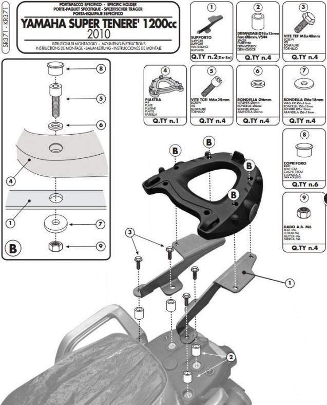Montage Support pour top case Givi SRA2101 Platin10