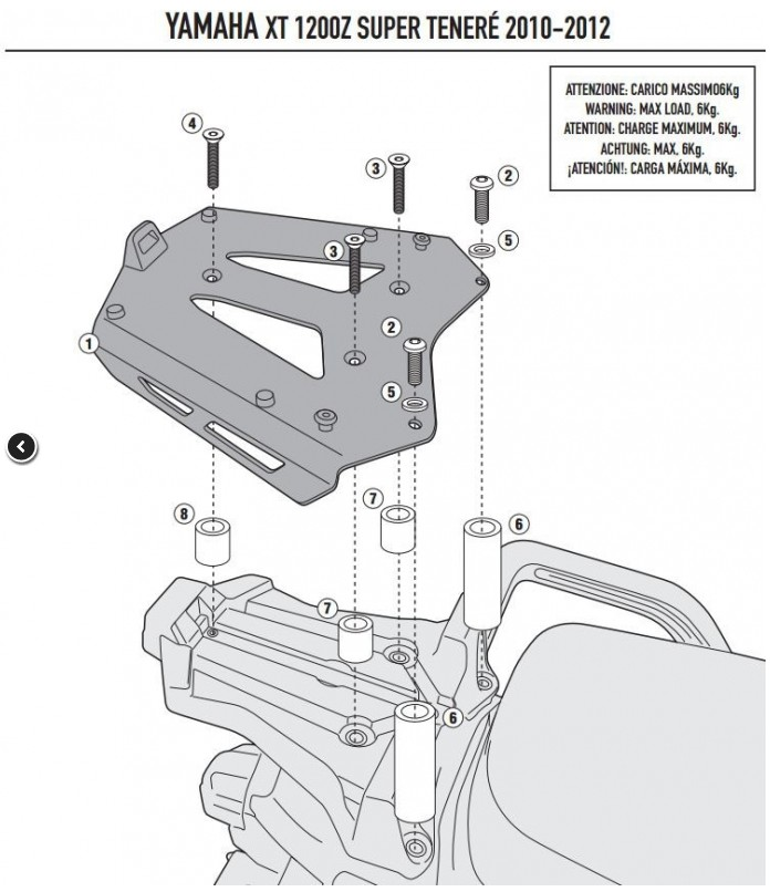 Montage Support pour top case Givi SRA2101 Platin11