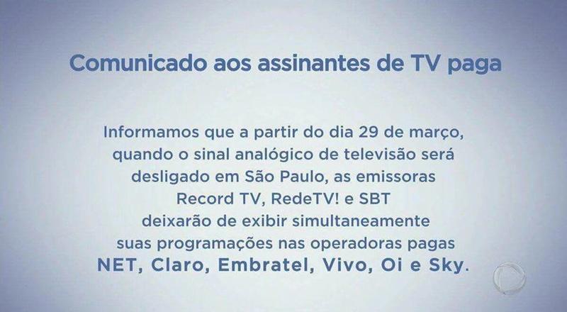 SBT, Record TV e RedeTV anunciam saída das operadoras de TV por assinatura 17362510
