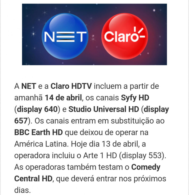 [CC] Syfy HD e Studio Universal HD entram na Claro e na NET Screen17