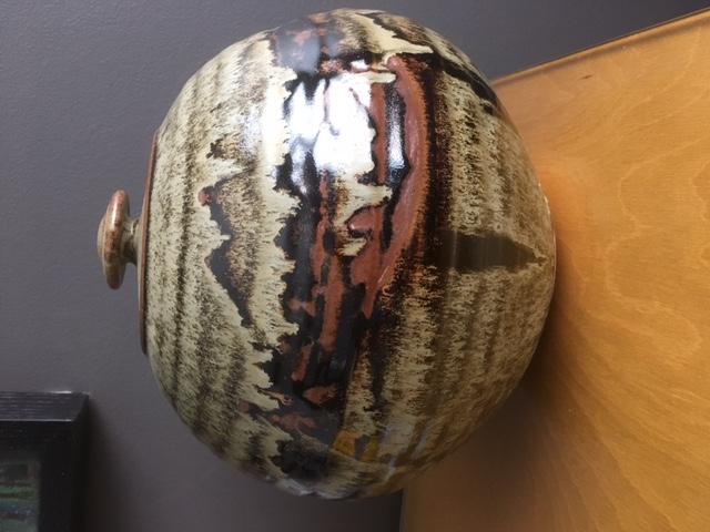 Monogram pottery lidded jar Img_4921
