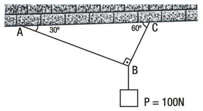 Na figura acima, o corpo suspenso tem o peso 100N. Os fios são ideais e têm  pesos desprezíveis, e o sistema está em equilíbrio estático(repouso). e95d4fb243