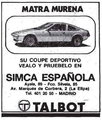 ANUNCIOS TALBOT MATRA MURENA  10905910