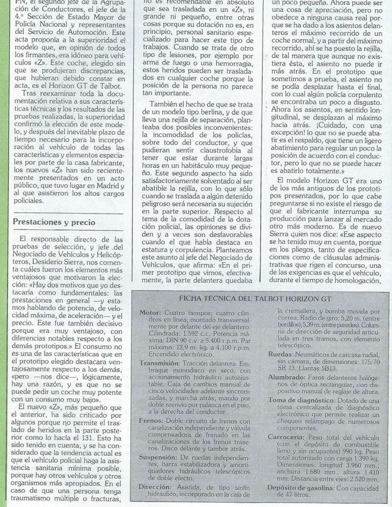 REPORTAJE PRESENTACION TALBOT HORIZON VEHICULO POLICIAL ESPAÑA Scan0042