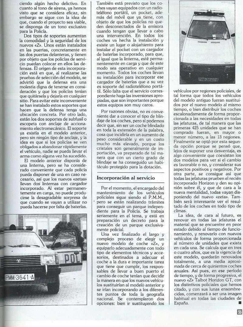 REPORTAJE PRESENTACION TALBOT HORIZON VEHICULO POLICIAL ESPAÑA Scan0044