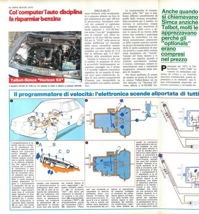 REVISTA GENTE MOTIRI TALBOT HORIZON SX ITALIA 1979 Test-117