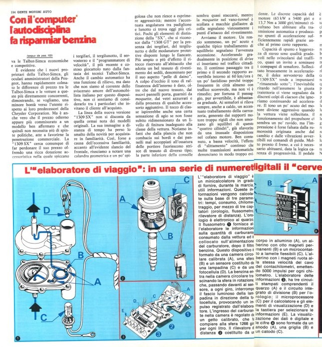 REVISTA GENTE MOTIRI TALBOT HORIZON SX ITALIA 1979 Test-118