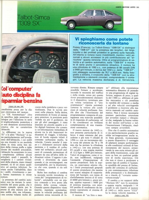 REVISTA GENTE MOTIRI TALBOT HORIZON SX ITALIA 1979 Test-122