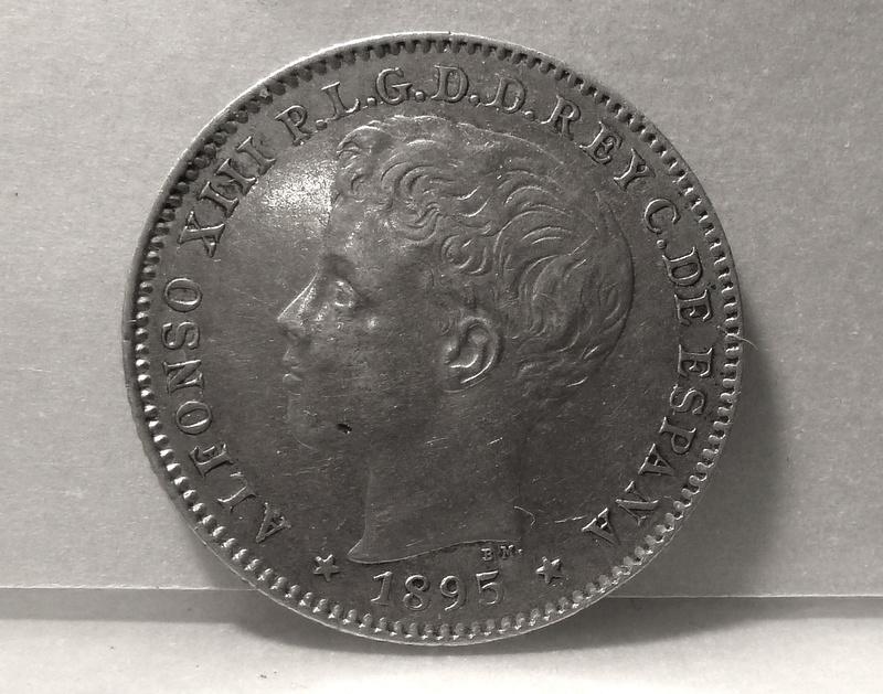 20 centavos de peso 1895. Alfonso XIII. Puerto Rico  P1120510