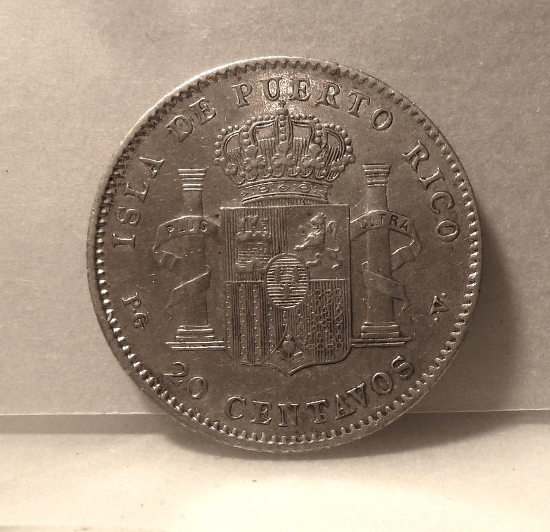 20 centavos de peso 1895. Alfonso XIII. Puerto Rico  P1120511