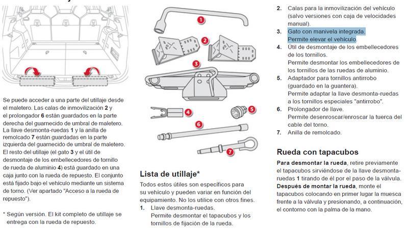 Herramientas de rueda de repuesto en el maletero (Grand Picasso) 110