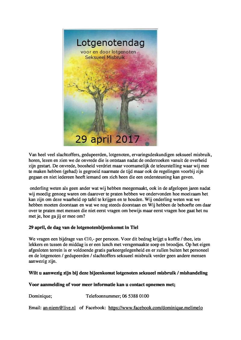Lotgenotendag voor/door lotgenoten seksueel misbruik/mishandeling 27 Mei 2017 Bijeen10